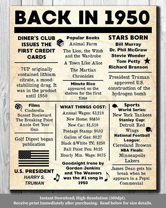 "70th Birthday Present Ideas >> 1950 NEWSPAPER Poster, Birthday 1950 Facts 16x20"", 8x10"" INSTANT DOWNLOAD | Newspaper, Birthday ..."