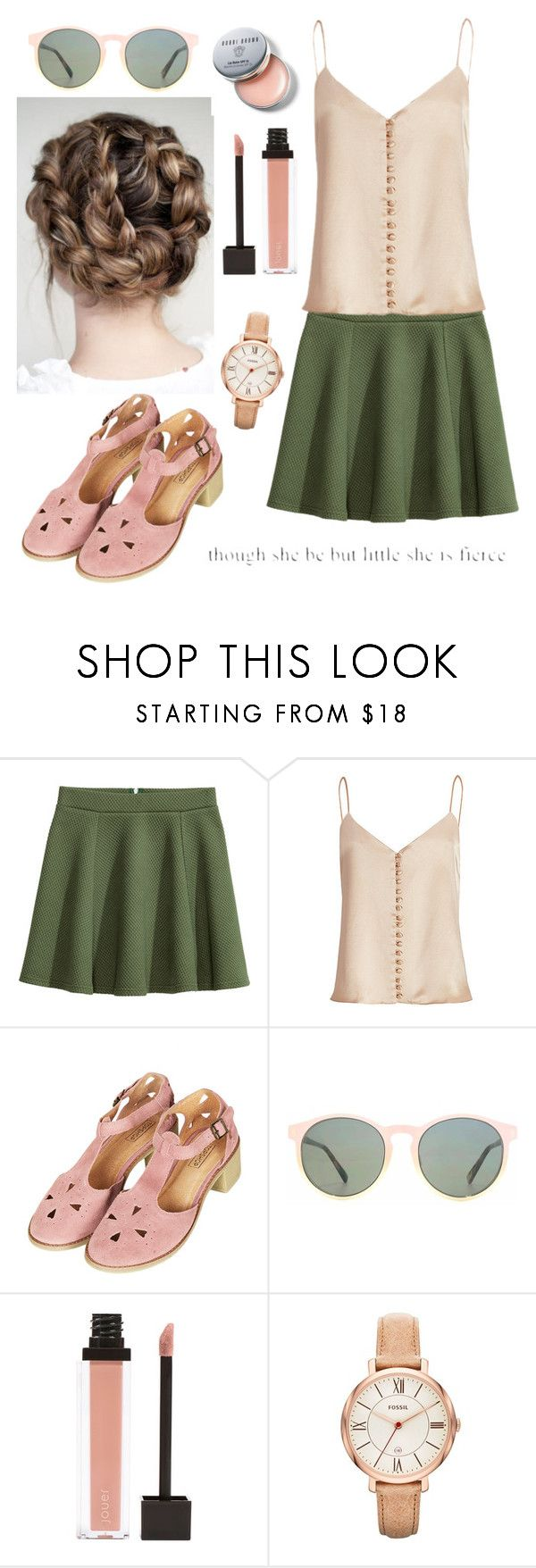"""""""Untitled #189"""" by dancingqueen31903 ❤ liked on Polyvore featuring H&M, Topshop, HOOK LDN, Jouer, FOSSIL and Bobbi Brown Cosmetics"""