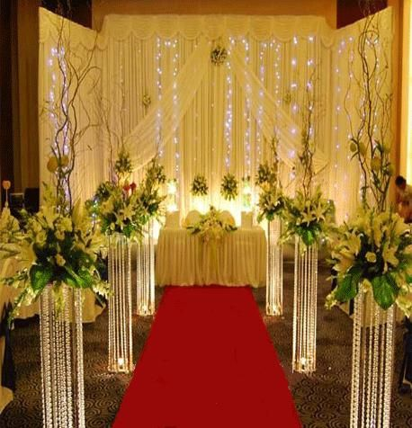 Metal Stand With Acrylic Beads For Wedding Aisle Decoration