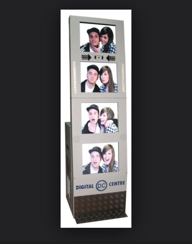 Hire a photo booth for your special event! With 4 impressive screens Simulating a film STRIP Video Message option Facebook/e-mail Welcome Screen  Good Bye Screen  Mini Text on the side of the film strip Customized Music 4th Picture Logo/Message  Customized Frames Choose from 6 popular options:  Black  White film strips Full Color film strips Funny Frames Wigs and Hair Styles New Hats selection Street art