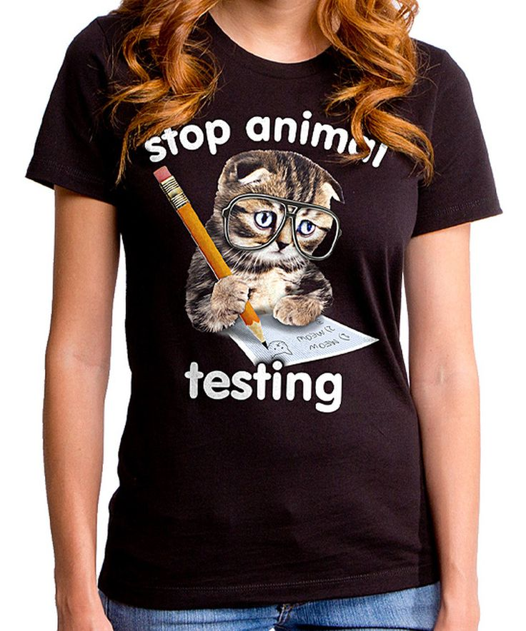 Another great find on #zulily! Goodie Two Sleeves Black 'Stop Animal Testing' Tee - Plus Too by Goodie Two Sleeves #zulilyfinds