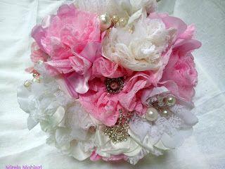 Mirela Mohjazi Handmade: Buchet de mireasa alb-roz cu flori textile si marg...