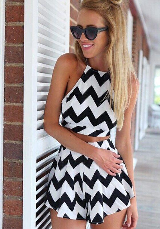 White Black Wave Striped Condole Belt Crop 2-in-1 Short Jumpsuit - Shorts - Bottoms