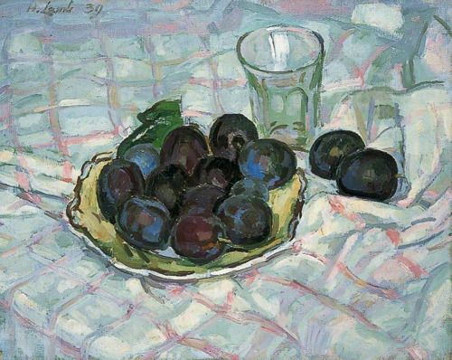 colourthysoul: Henry Lamb - Plums on a dish