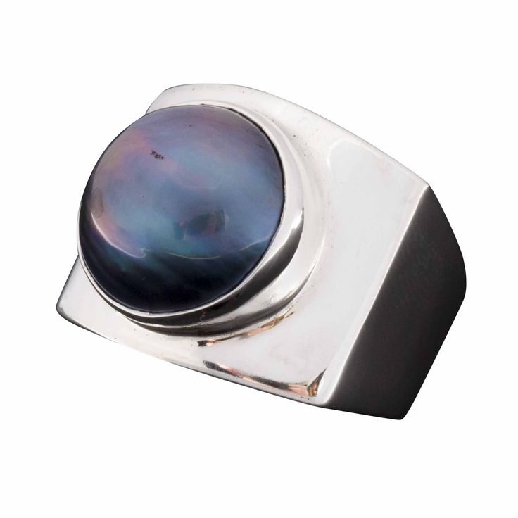 Ring-Black Pearl and Sterling Silver