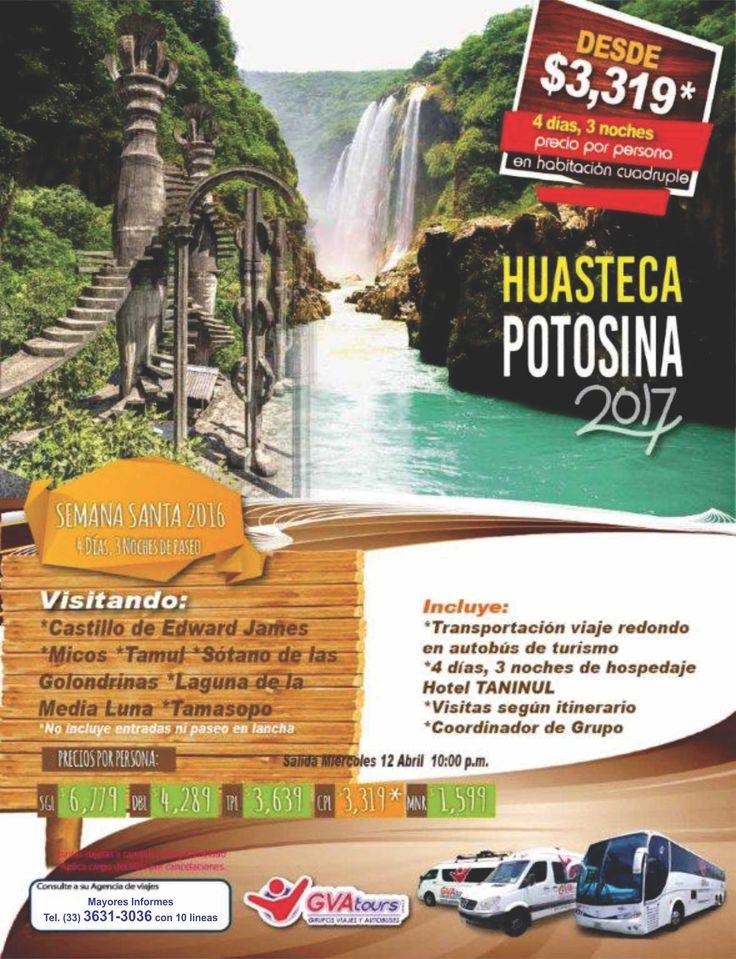 Te invitamos a viajar en nuestras Excursiones, salidas garantizadas, transporte, hospedaje, paseos y mas a conocer a la Mariposa Monarca, Pto. Vallarta, Huasteca Potosina, Grutas de Tolantongo, CDMX (Mexico DF), Sureste y Caribe Mexicano (Cancun), Oaxaca, Chiapas y Veracruz Mayores Informes al (33) 3631-3036 con 10 lineas www.gvatours.com Salidas desde Guadalajara, Jal. Mex.