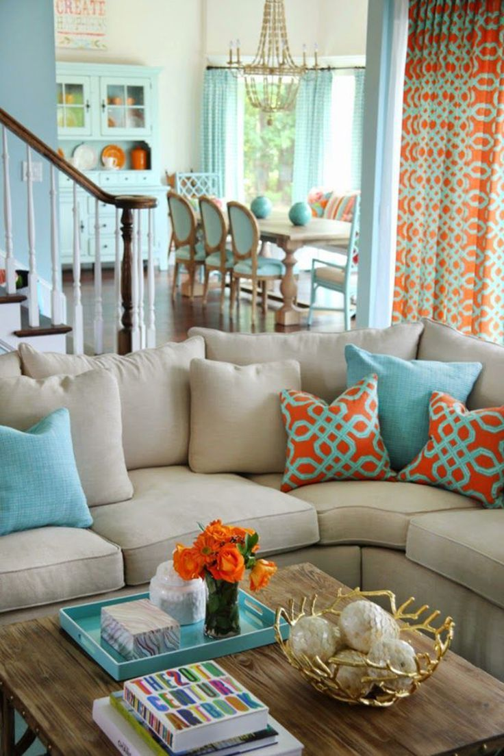 Orange and turquoise - 25 Chic Beach House Interior Design Ideas Spotted on Pinterest  - HarpersBAZAAR.com