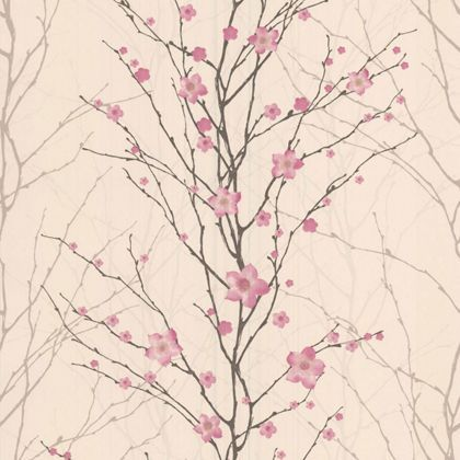 Graham and Brown Vitality Floral Wallpaper - Pink and Cream