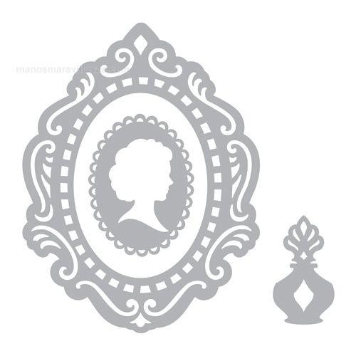 Troquel Sizzix Thinlits. Camafeo victoriano, marco y botella de perfum