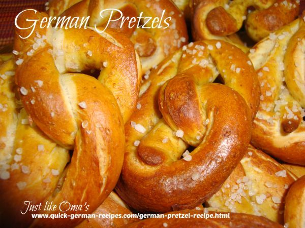 German Pretzels  --  crispy on the outside, soft on the inside. Dunk these, still warm from the oven, into hot German mustard. A real Oktoberfest treat! http://www.quick-german-recipes.com/german-pretzel-recipe.html