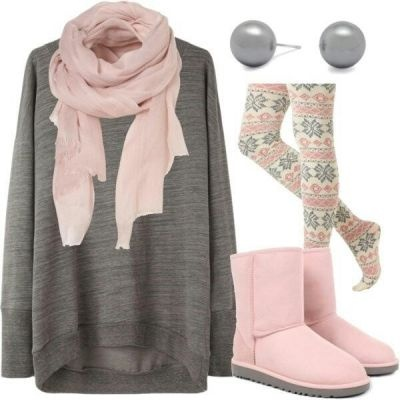 Cozy outfit for the home/night pyjamas shopping. Nordic tights are from Modcloth (no longer available), grey oversized sweater is from Lagarconne, pink scarf - Topshop, faux grey pearl earrings - Debenhams or no matter what :)  so do pink Uggs.