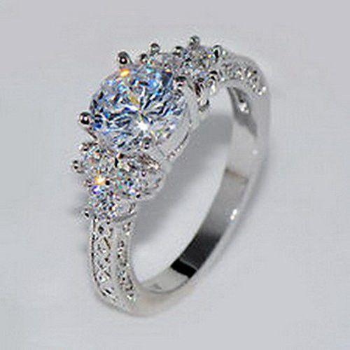 jacob alex ring 5.80 ct Lab diamond White Sapphire Wedding Ring 10KT White Gold Jewelry Size 6