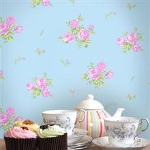 Coloroll Pollyanna Wallpaper Pippa MO726 Sky Blue/Pink