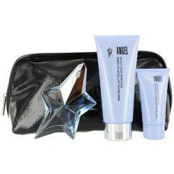 ANGEL EAU DE PARFUM SPRAY REFILLABLE .8 OZ & SHOWER GEL 1 OZ & BODY LOTION 3.5 OZ & COSMETIC BAG WOMEN by Thierry Mugler. $68.75. Design House: Thierry Mugler. Fragrance Notes: vanilla, sandalwood, and patchouli, with lower notes of fresh citrus, melons, peaches, and plums.. Recommended Use: daytime. ANGEL EAU DE PARFUM SPRAY REFILLABLE .8 OZ & SHOWER GEL 1 OZ & BODY LOTION 3.5 OZ & COSMETIC BAG WOMEN. daytime vanilla, sandalwood, and patchouli, with lower notes of fresh cit...