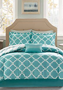 Madison Park Essentials Merritt Reversible Complete Comforter Set - Aqua