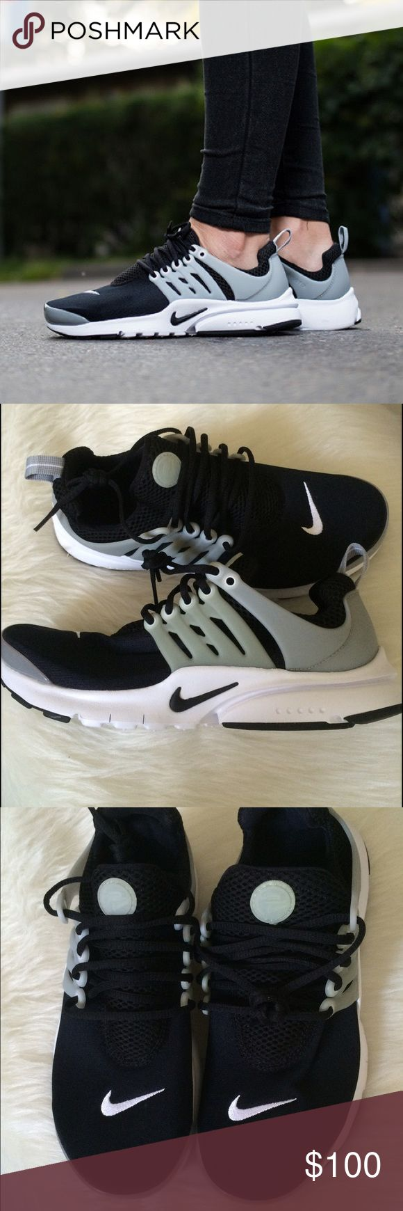 NIKE AIR PRESTO BLACK WHITE SHOES WOMENS NEW Shoes are brand new. No box. Shoes are a size 6 youth which is a women's size 7.5. I have added a sizing chart. Nike Shoes Sneakers