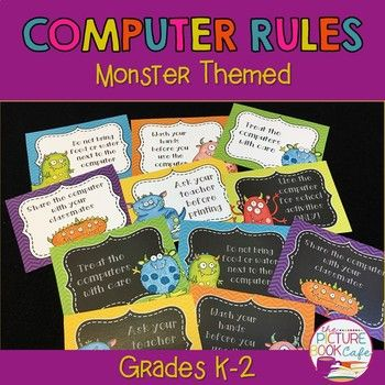 Classroom Computer Rules Posters (Monster Themed) by The Picture Book Cafe