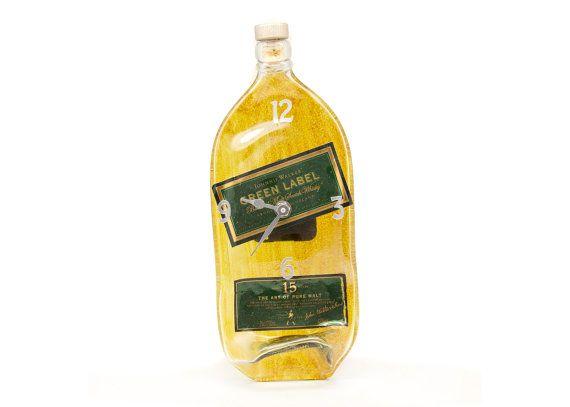 Jonnie Walker  Green Label whisky recycled bottle by bonisglassart