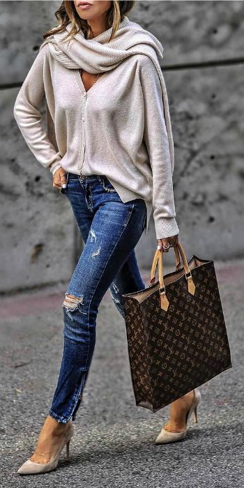 Sasha Simon + blissfully soft cashmere cardigan + distressed denim jeans + cream suede heels + striking Vuitton bag + perfect for everyday Spring wear   Cardigan: Softgoatcashmere.