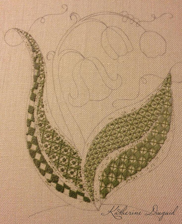 Crewel embroidery by Katherine Diuguid www.katherinediuguid.com #thesewcial November 2015 'Kilt Pin Crewel'