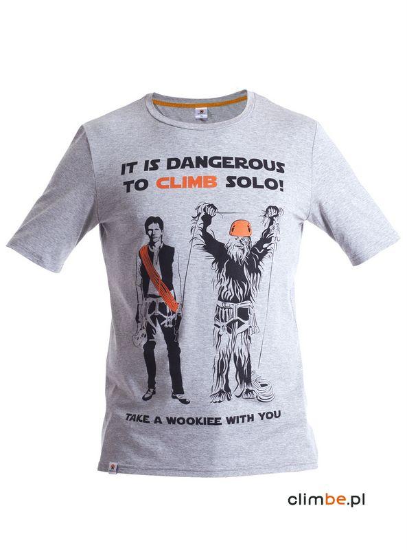Męska koszulka wspinaczkowa z nadrukiem Solo Climbing. Solo climbing is dangerous tshirt