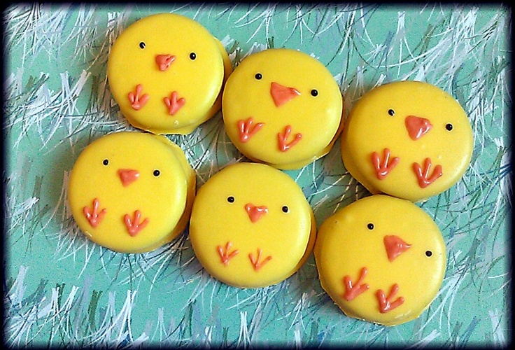 Easter chick peeps yellow chocolate covered Oreo cookies  - 1 dozen in box - baby shower duck duckie. $15.99, via Etsy.