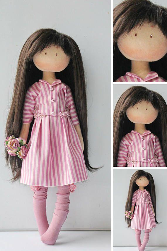 Textile doll Rag doll Tilda doll Fabric doll Muñecas Pink doll