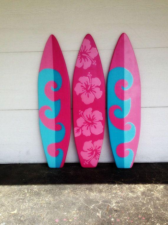 three of my foot wood hawaiian wall art decor surfboards or headboard kids room wave u flowers with glitter accents sign tablas de surffiesta