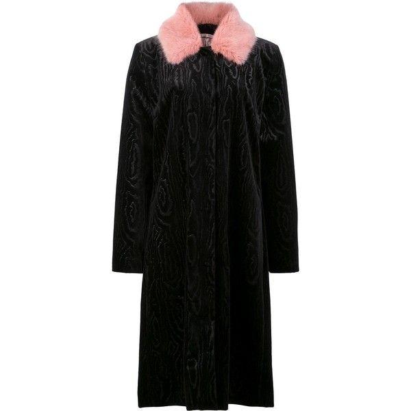 Shrimps 'Marie' Faux Fur Black Pink Coat (35,120 PHP) ❤ liked on Polyvore featuring outerwear, coats, black, shrimps coat, long sleeve coat, imitation fur coats, pink faux fur coat and fur-lined coats