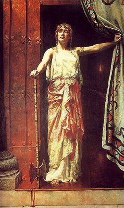 Clitemnestra – Depois do assassinato (1882), de John Collier (1850-1934), exposto na Guildhall Art Gallery de Londres.