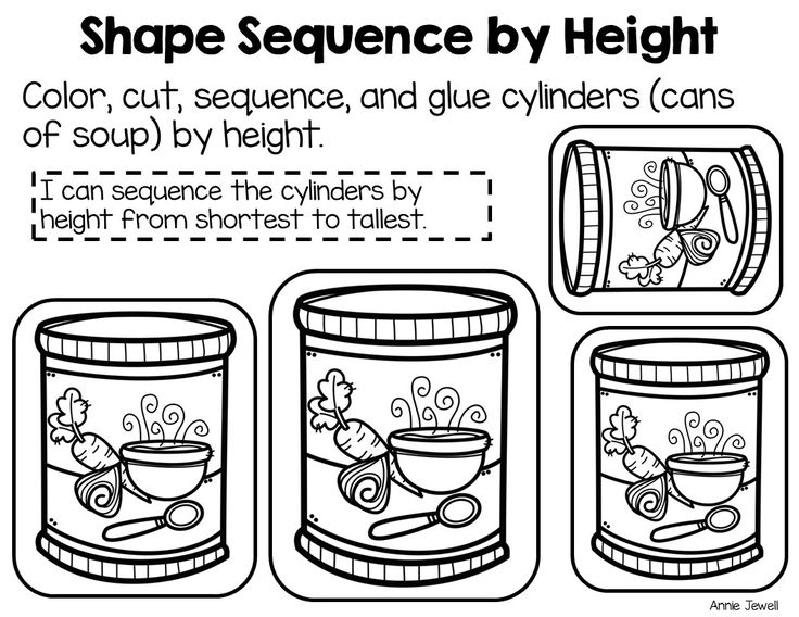 Pre-K and Kindergarten No-Prep Math Ordering or Sequencing by Size: 3-Dimensional Shapes- Sphere, Cylinder, Cube, and Cone. Students love these cut and paste activities! Perfect for comparing measurable attributes of objects and review 3-dimensional shape names.