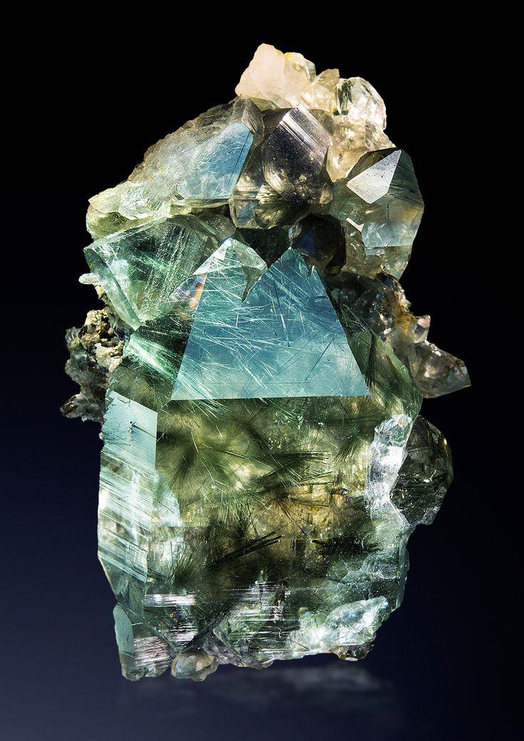 hematitehearts:    Quartz with ActinolitheLocality: Rotbach, Ahrntal, Südtirol, Italy
