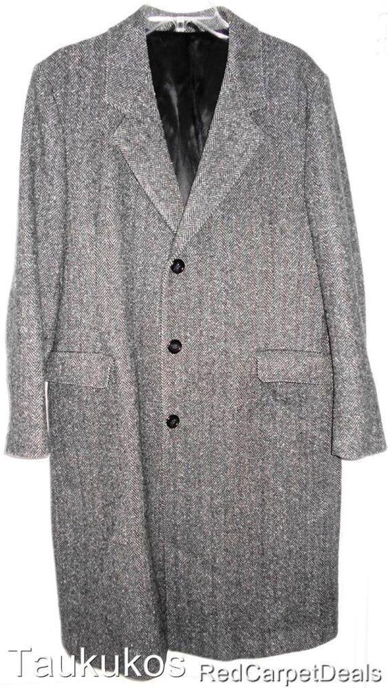 Mens Top Coat Overcoat Vintage BOTANY 500 Tweed WOOL Winter Long USA Gray 40 REG #Botany500 #ChesterfieldOvercoat
