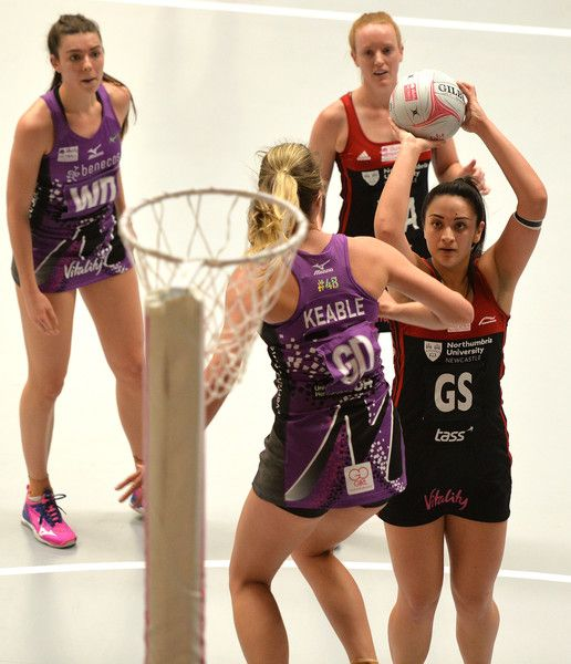 Chiara Semple of Team Northumbria prepares to shoot during the Vitality Superleague match between Team Northumbria and Benecos Mavericks on March 5, 2018 in Newcastle upon Tyne, England.