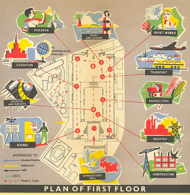 This is my favorite style of lithography... (USSR Pavilion, first floor map  Worlds Fair)