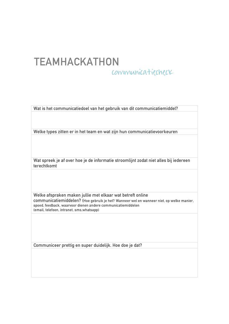 De communicatiecheck van de Teamhackathon