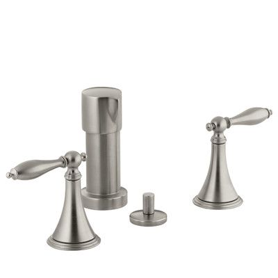 Kohler Finial Traditional Vertical Spray Bidet Faucet with Lever Handles and Matching Handle Inserts Finish: Vibrant Brushed Nickel
