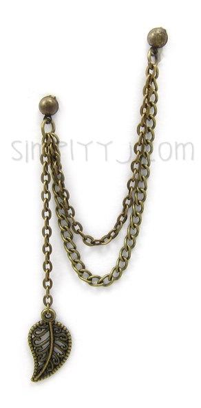 Bronze Leaf Dangle Double Chain Cartilage Double Piercing. $6.50, via Etsy.