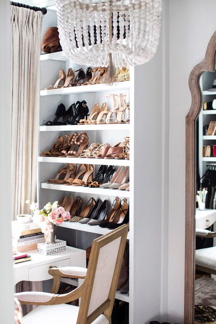 Shoe wall and office desk inside the stunning closet of Kat from With Love  From Kat // My Closet + Spring Cleaning Tips