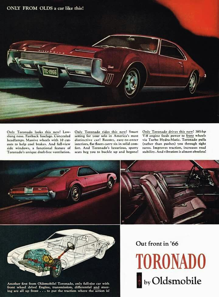 Vintage advertisement for 1966 Oldsmobile Toronado.
