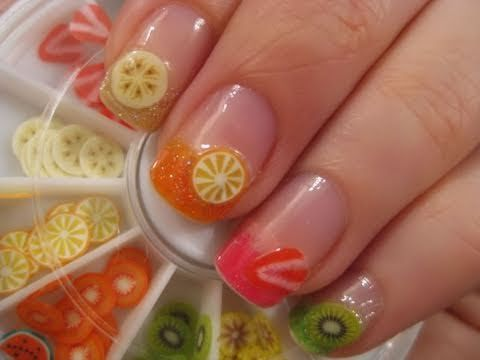 """COME JOIN THE CUTEPOLISH COMMUNITY: www.facebook.com/cutepolish    this fruit nail art design is perfect for the summer.  you can do strawberry, kiwi, lemon, lime, banana, pineapple, apple, or other fruits!  search on ebay for the fruit slices... type in """"fimo fruit nail art"""" into the ebay search bar  music by danosongs.com    LOVE YOU ALL  muah*~"""
