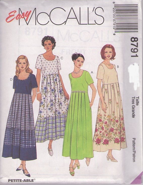 MOMSPatterns Vintage Sewing Patterns - McCall's 8791 Retro 90's Sewing Pattern EASY Modest High Waist Scoop Neck Color Block Tiered Skirt Pullover Dress Size 4-6