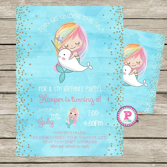 Mermaid Narwhal Watercolor Birthday Party Invitation Front ...