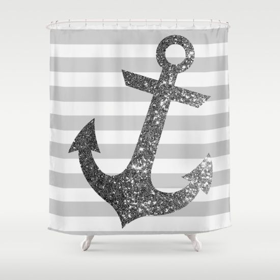 GLITTER ANCHOR IN SILVER Shower Curtain by Colorstudio