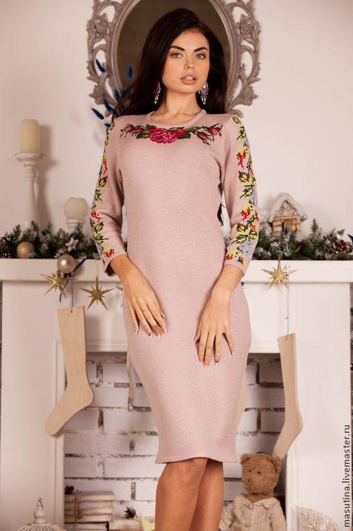 Платье с ручной вышивкой розовое - Ярмарка Мастеров - ручная работа, handmade