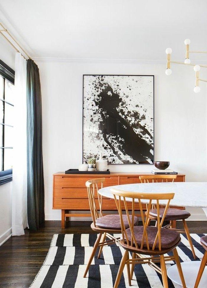 Les 25 meilleures id es de la cat gorie tapis ray sur for Meuble de salle a manger noir et blanc