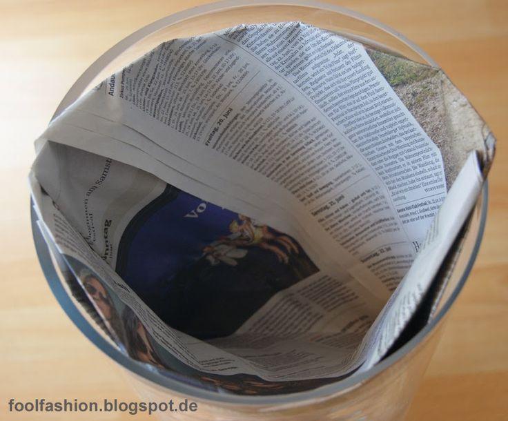 plastikfreie, kleberfreie DIY-Mülltüten