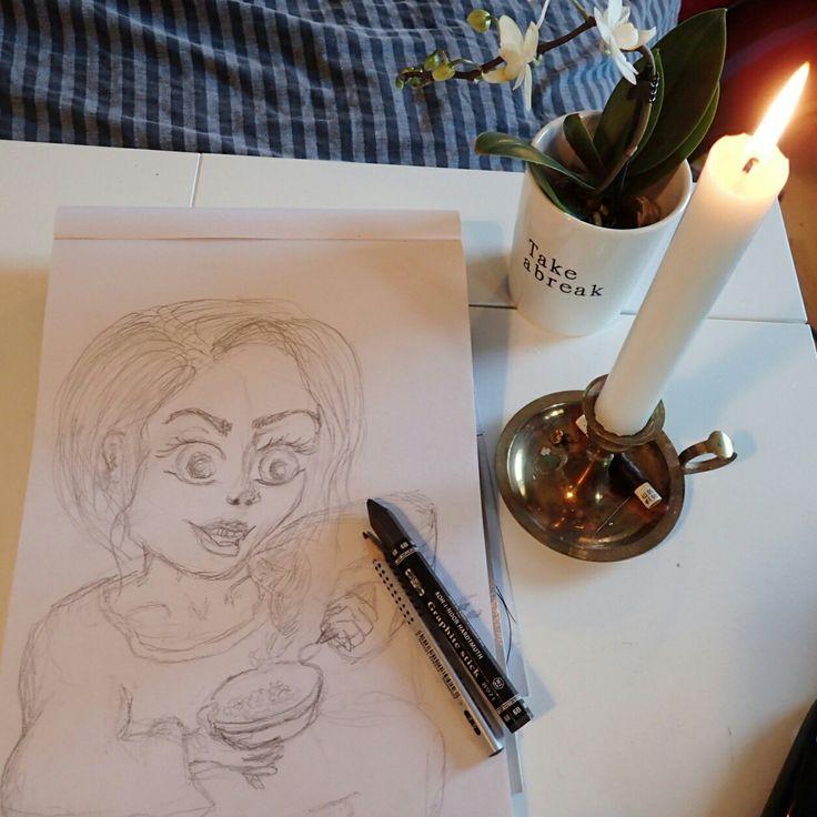 Girl breakfast drawing