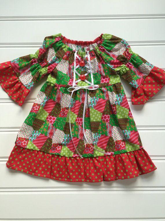 Girl Toddler Christmas Dress, Toddler Holiday Dress, Little Girl Dress, Girls Red Dress, Toddler Girl Christmas Dress