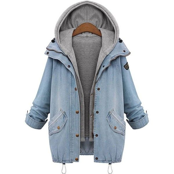Plus Size Denim Drawstring Twinset Hooded Women Jacket Outerwear ($31) ❤ liked on Polyvore featuring outerwear, jackets, blue, tops, blue denim jacket, blue jackets, plus size jackets, denim jacket and pattern jacket